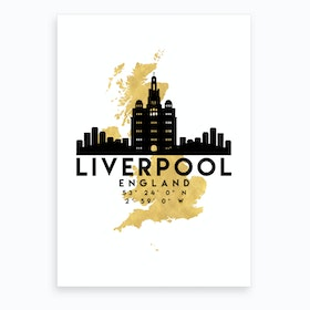 Liverpool England Silhouette City Skyline Map