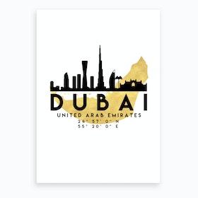 Dubai UAE Silhouette City Skyline Map Art Print
