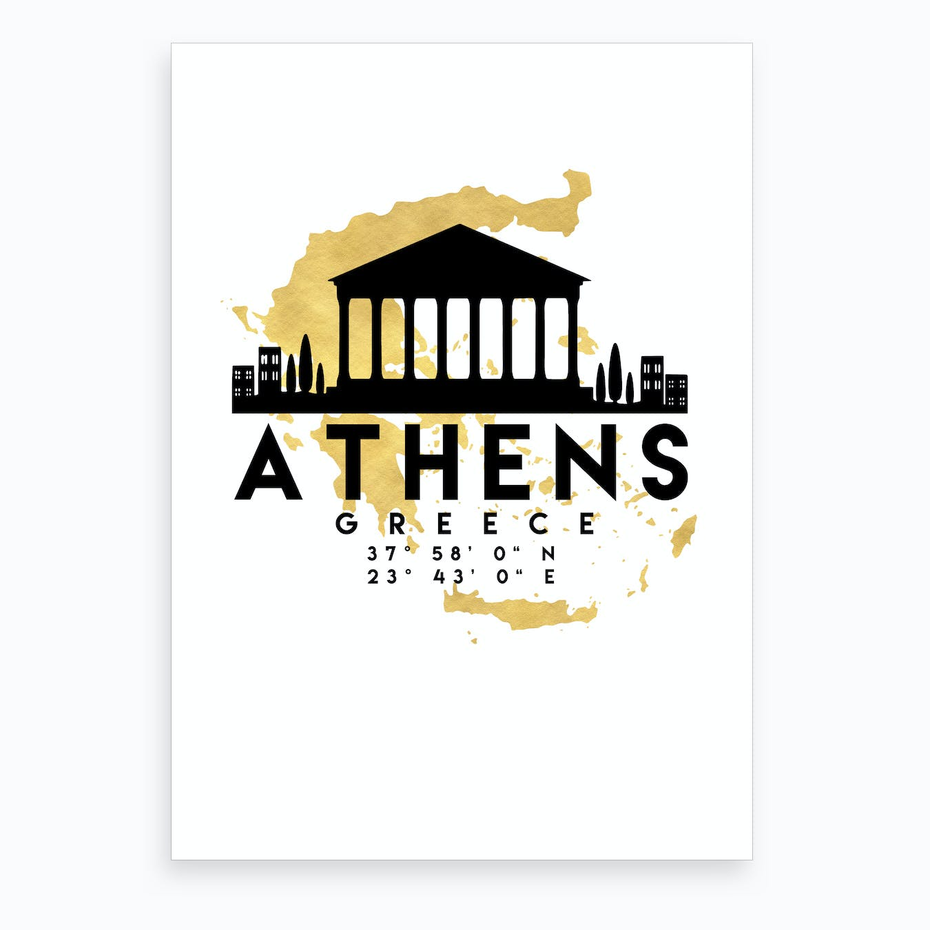 Athens Greece Silhouette City Skyline Map