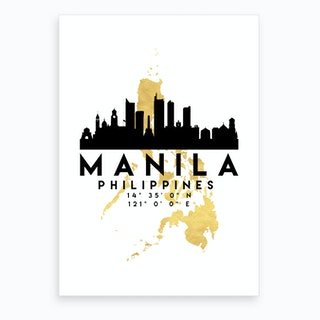 Manila Philippines Silhouette City Skyline Map Art Print