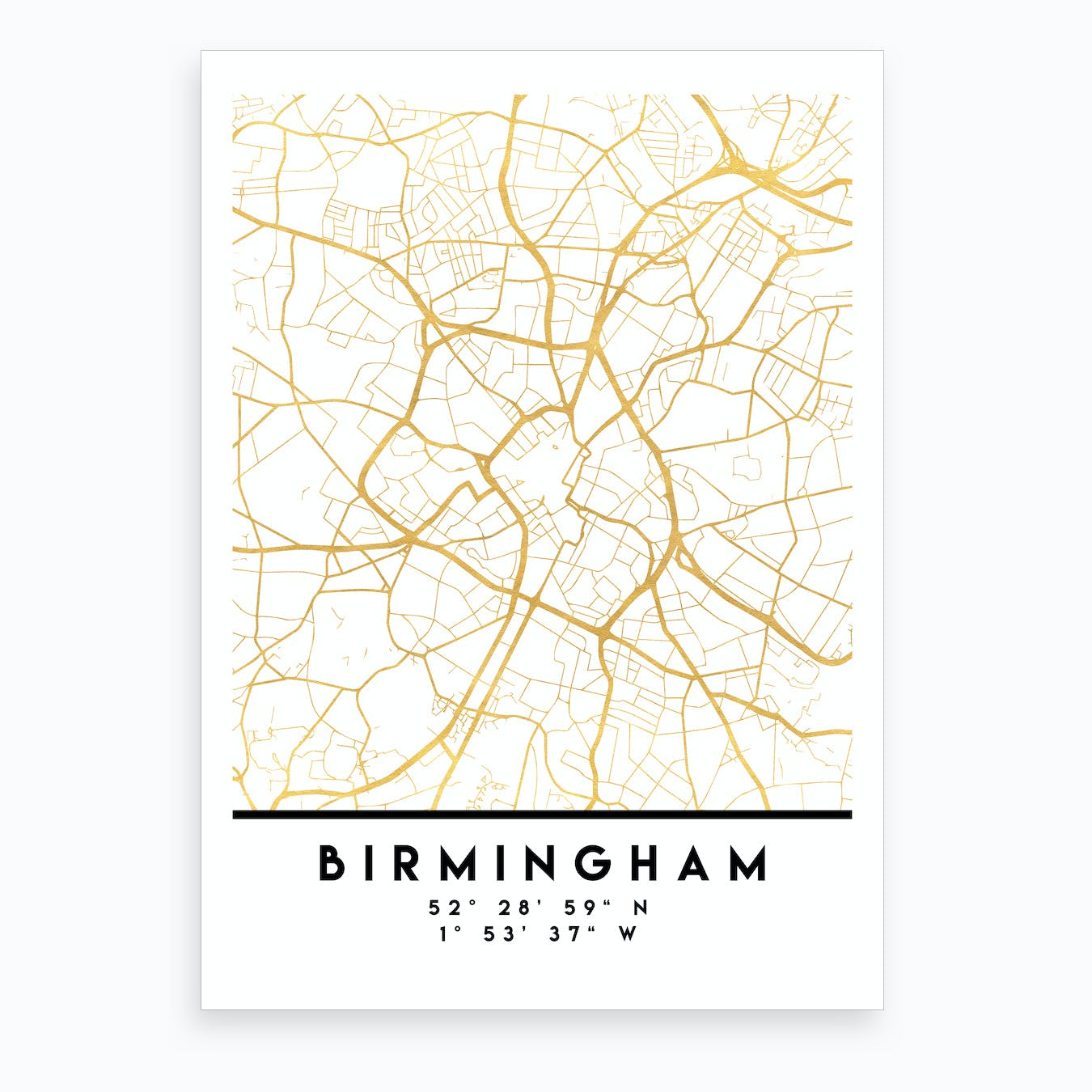 Birmingham England City Street Map