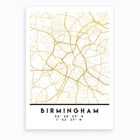 Birmingham England City Street Map Art Print