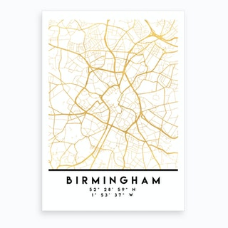Birmingham England City Street Map Art Print