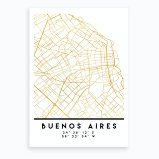 Buenos Aires City Street Map Art Print