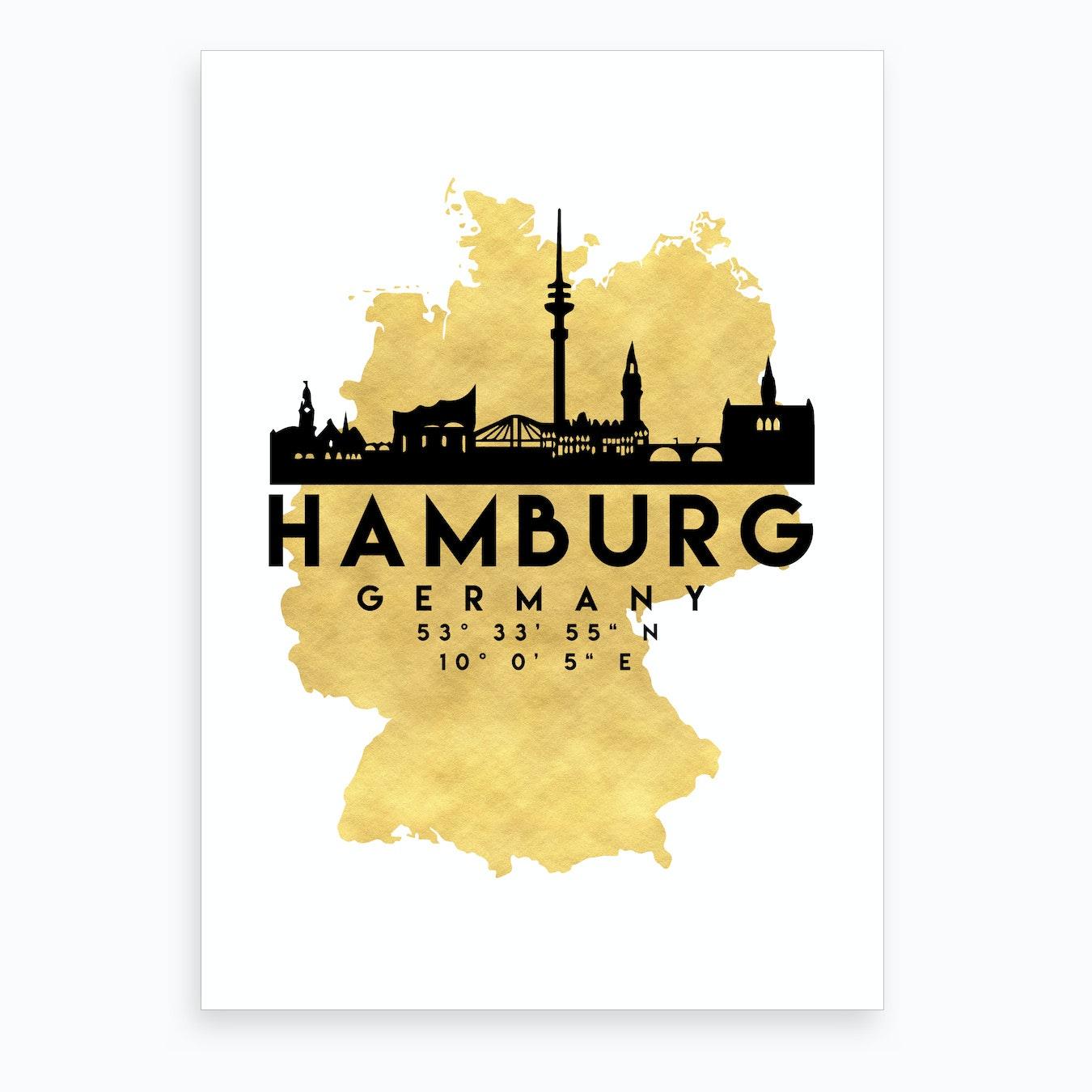 Map Of Germany Hamburg.Hamburg Germany Silhouette City Skyline Map