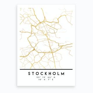 Stockholm Sweden City Street Map Art Print