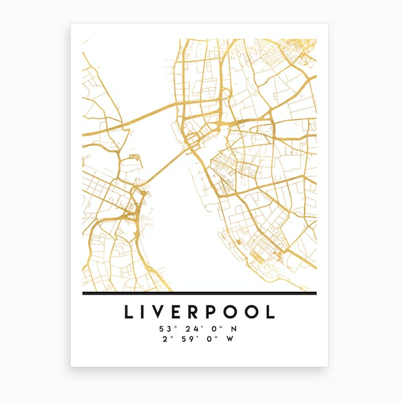 Map Of England Liverpool.Liverpool England City Street Map By Deificus Fy