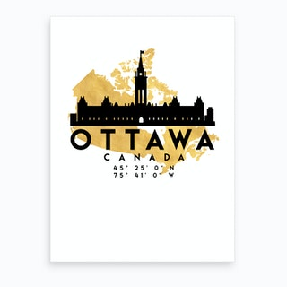 Ottawa Canada Silhouette City Skyline Map Art Print