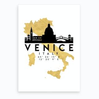Venice Italy Silhouette City Skyline Map Art Print