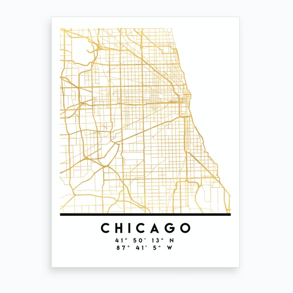Chicago Illinois City Street Map by deificus - Fy on