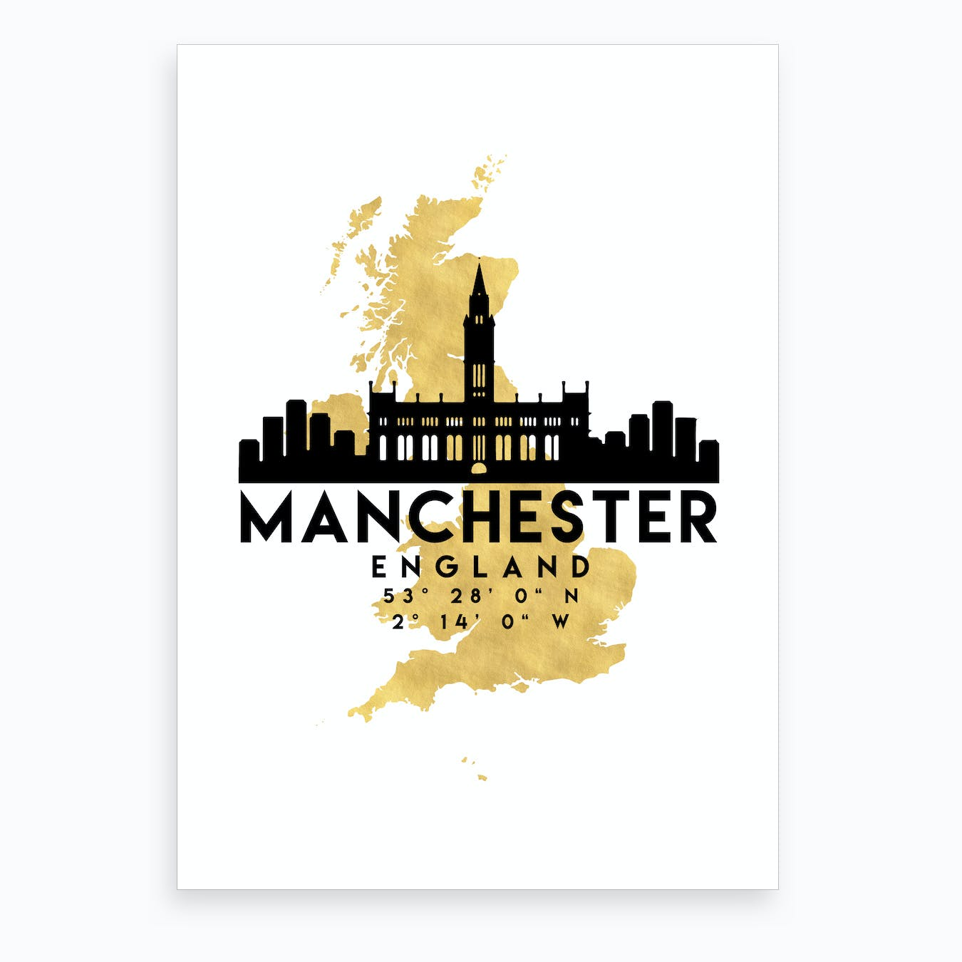 Manchester England Silhouette City Skyline Map Art Print