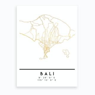 Bali Indonesia City Street Map Art Print