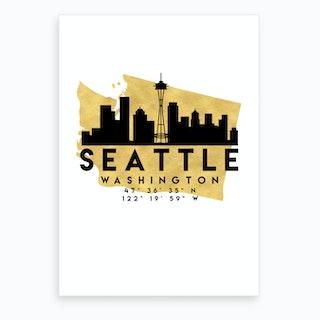 Seattle Washington Silhouette City Skyline Map Art Print
