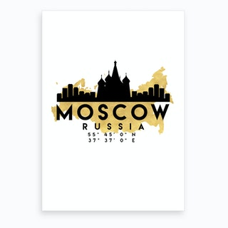 Moscow Russia Silhouette City Skyline Map Art Print