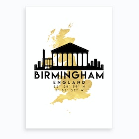 Birmingham England Silhouette City Skyline Map Art Print