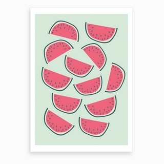 Dancing Watermelons Art Print