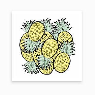 Cuddling Pineapples Art Print