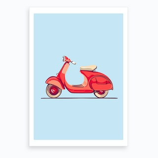 Red Scooter Art Print