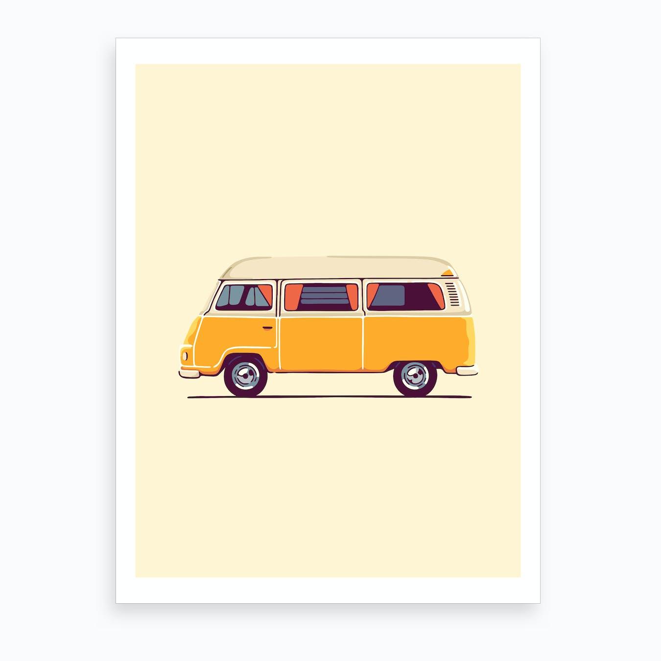 Yellow Hippie Bus Art Print