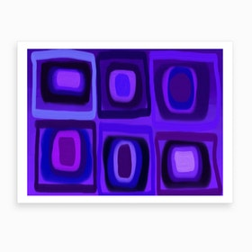 Violets in Blue Windows Art Print
