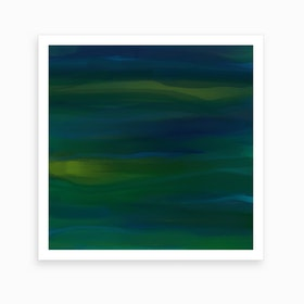 Navy & Peacock Green Abtract Art Print