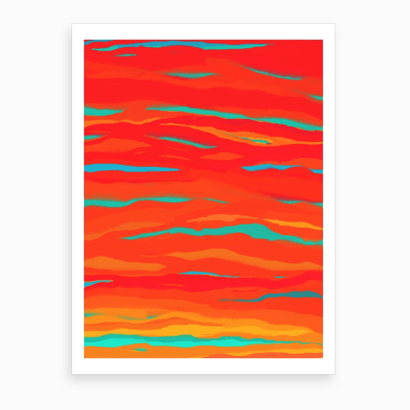 Ripped Turquoise Sunset Sky Art Print