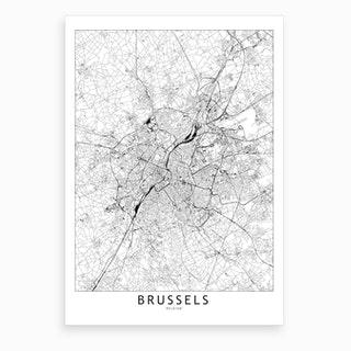 Brussels White Map Art Print