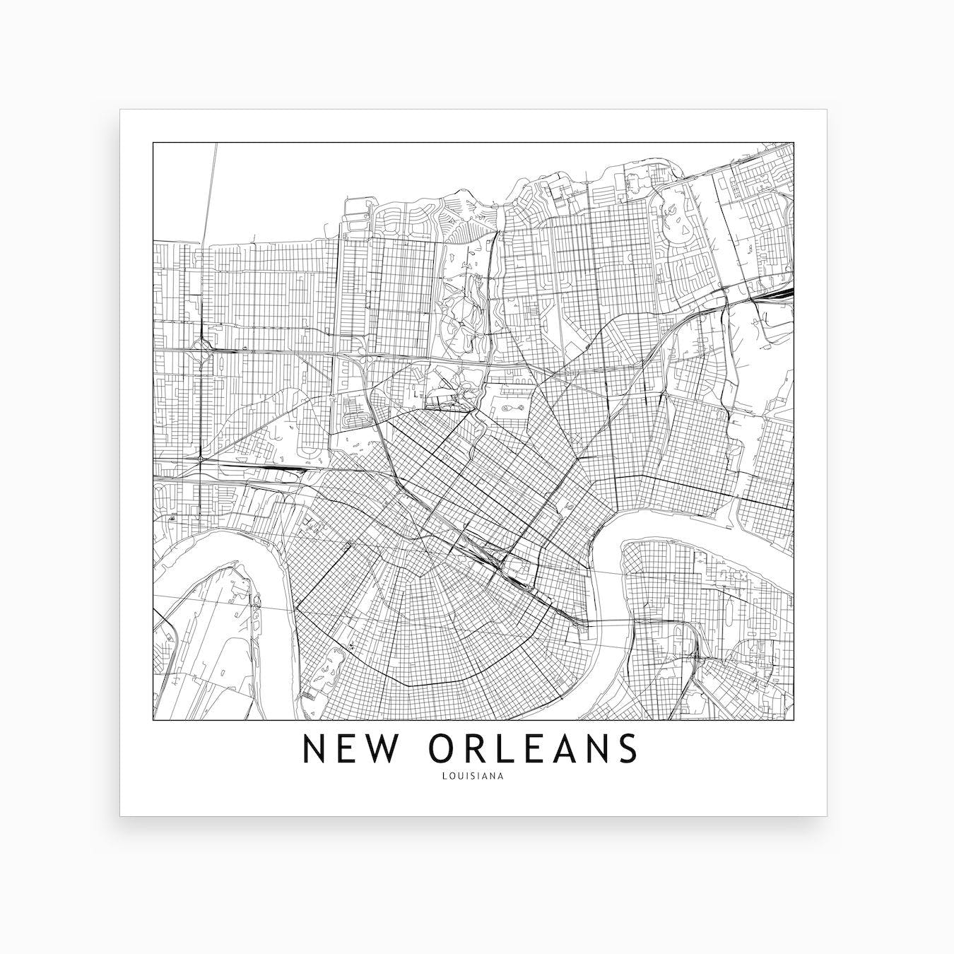 photograph regarding Printable Map of New Orleans named Clean Orleans Map Artwork Print