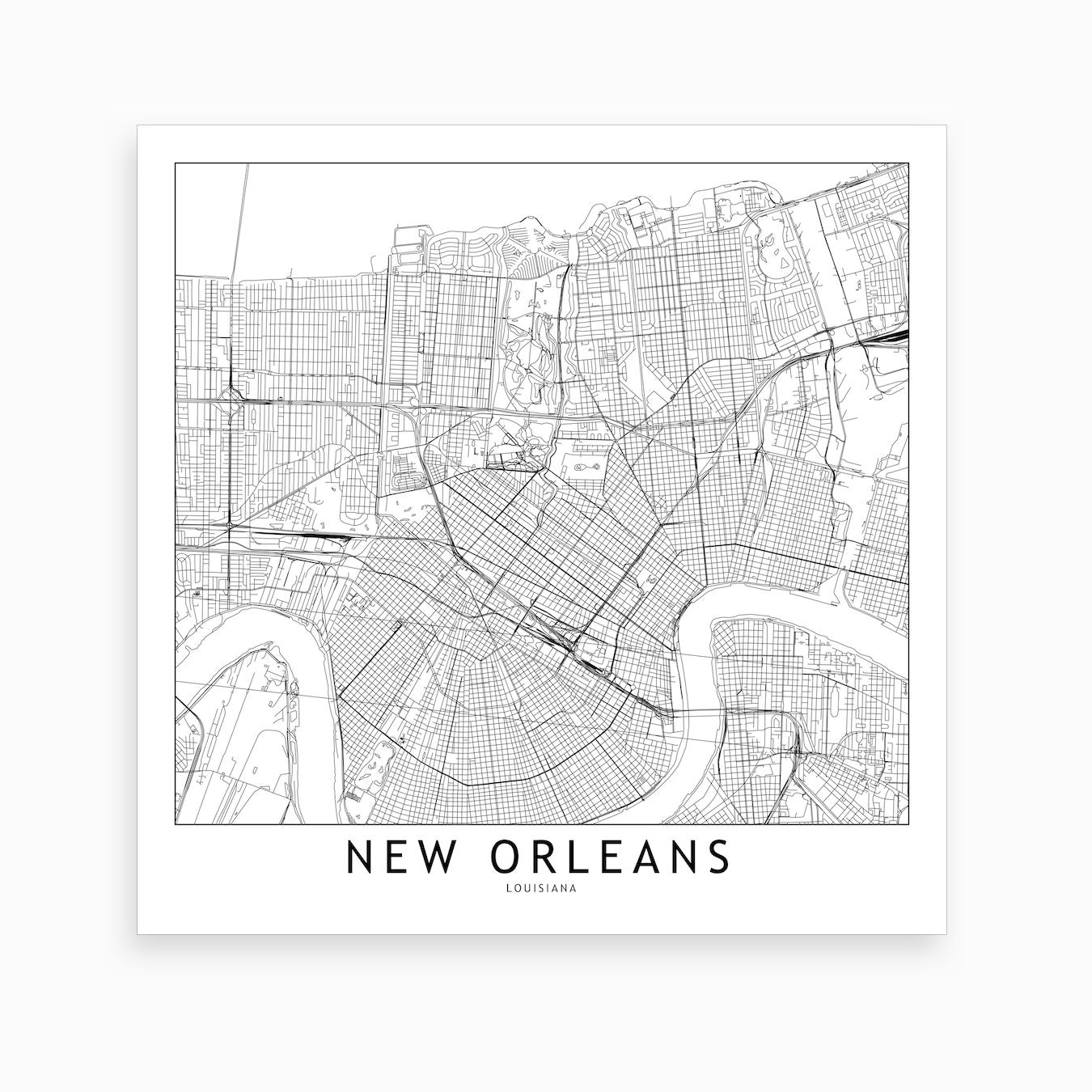 New Orleans Map Art Print