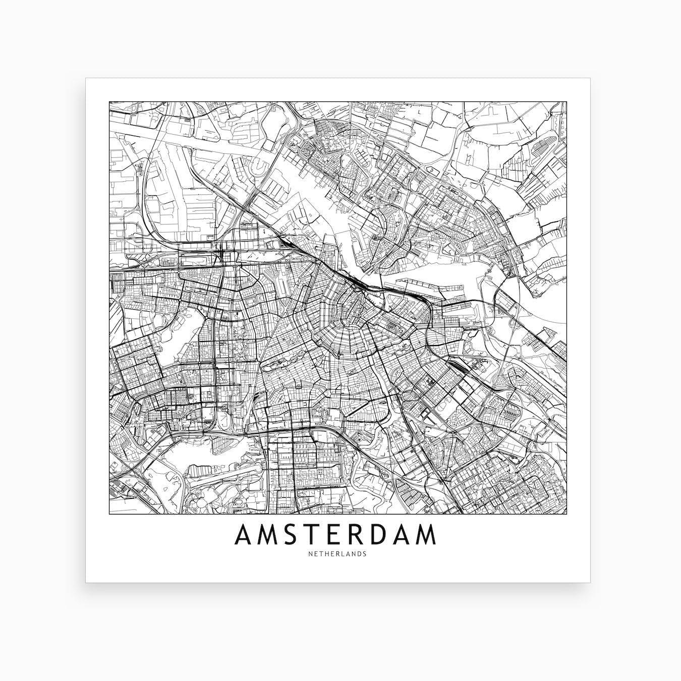 Amsterdam Map Art Print I