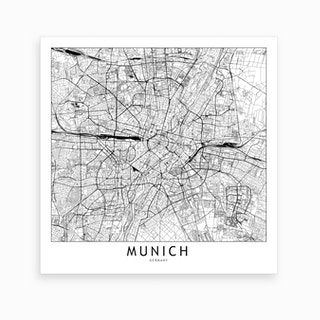 Munich Map Art Print I