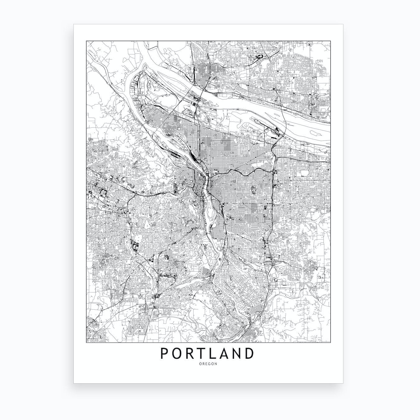 Portland White Map Art Print