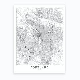 Portland White Map Art Print