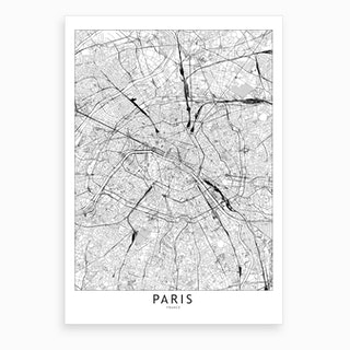 Paris White Map Art Print