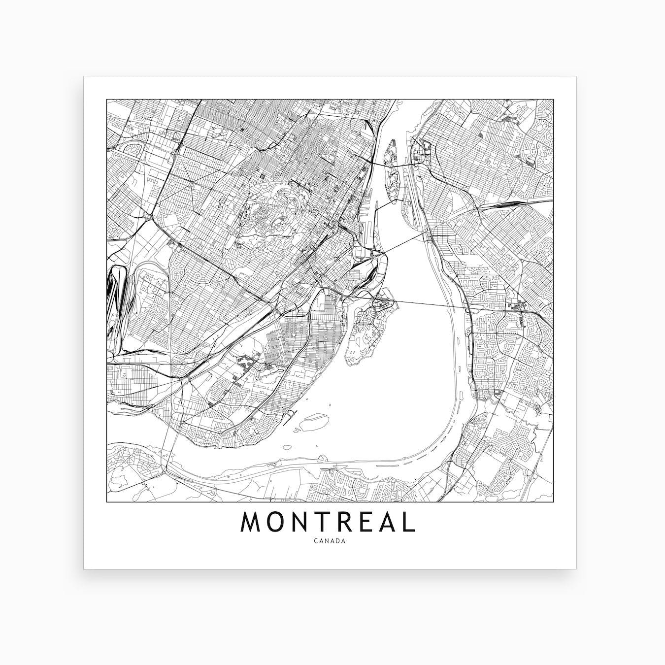 photo relating to Printable Map of Montreal named Montreal Map Artwork Print