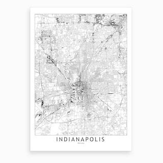 Indianapolis White Map Art Print