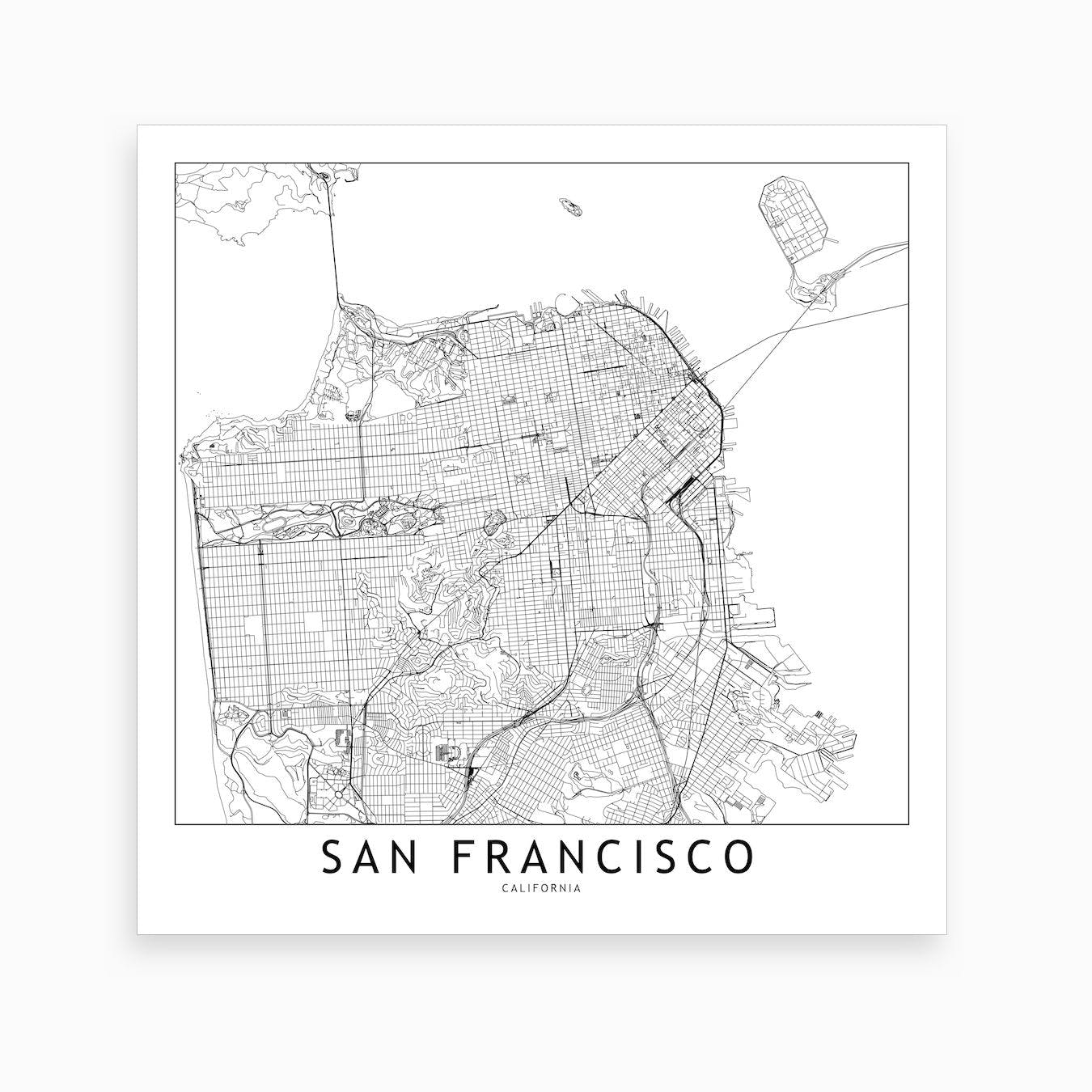 picture about San Francisco Maps Printable named San Francisco Map Artwork Print