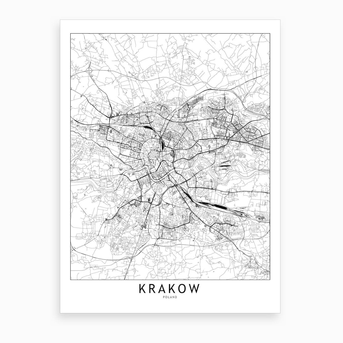 Krakow White Map Art Print
