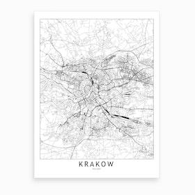 Krakow White Map Art Print