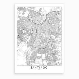 Santiago White Map Art Print