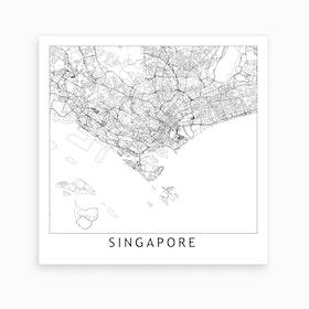 Singapore Map Art Print
