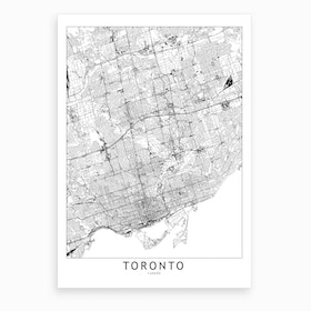 Toronto White Map Art Print