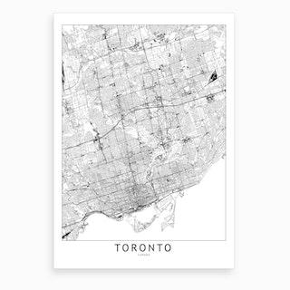 Toronto White Map Art Print