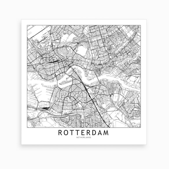 Rotterdam Map Art Print by multipliCITY - Fy
