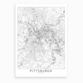 Pittsburgh White Map Art Print