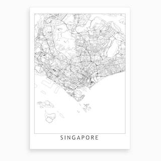 Singapore White Map Art Print