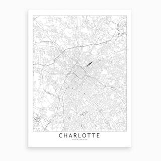 Charlotte White Map Art Print