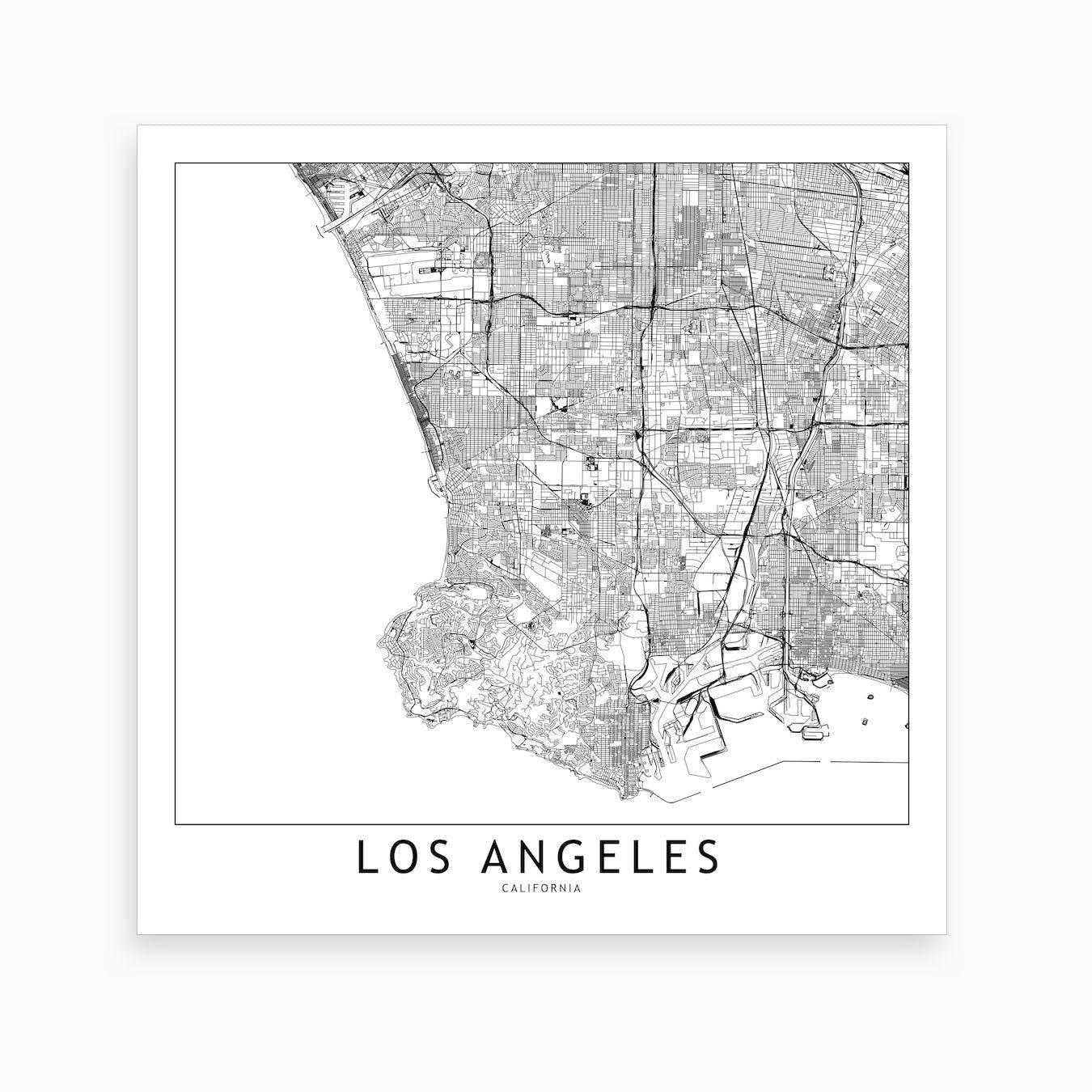 Los Angeles Map Art Print I