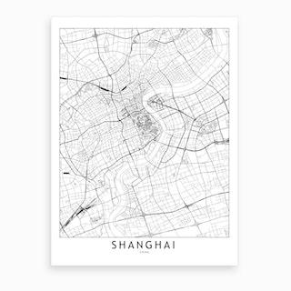 Shanghai White Map Art Print