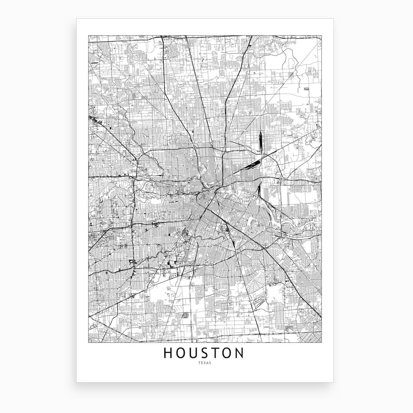 Houston White Map Art Print